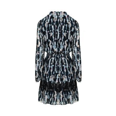 smocking detail patterned dress